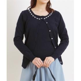 ツインニット(ビジュー付カーディガン+半袖セーター) (ニット・セーター)(レディース),Knitting