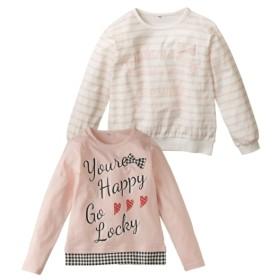 リボン付Tシャツ2枚組(女の子 子供服。ジュニア服) Tシャツ・カットソー