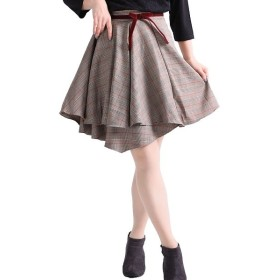 [マルイ] 大きいサイズ レディース グレンチェック 柄 変形 ミニ スカート フレア リボン/ゴールドジャパン(大きいサイズ)(GOLDJAPAN)