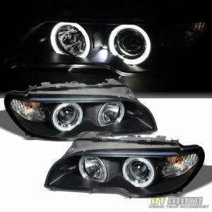1999-2001 BMW 4DR 3-SERIES E46 BLACK PROJECTOR HALO LED HEADLIGHT W//AMBER CORNER