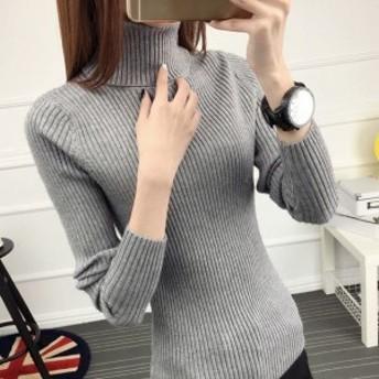 冬コーデ着回しマスト♪かわいい灰色リブニット☆秋冬 長袖のタートルネック セーター グレー M レディース
