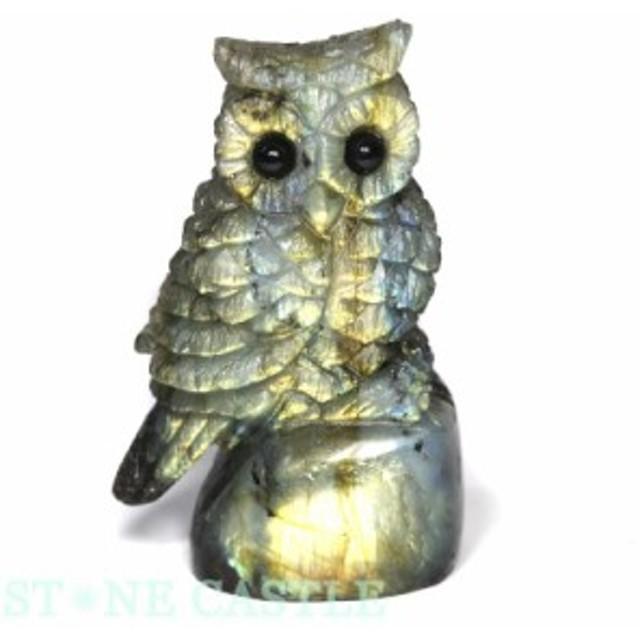 ☆置物一点物☆【天然石 彫刻置物】ふくろう ラブラドライト No.110