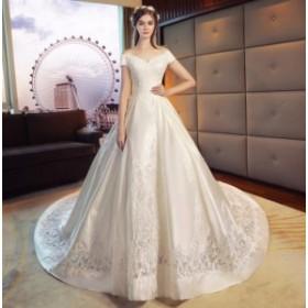 ウェディングドレス 超豪華 結婚式 花嫁 新品 ハーフスリーブドレス  白系 ブライダル ロングドレス エレガント ゴージャス WS-361