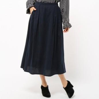 スカート レディース ロング 起毛ツイル素材のタックデザインスカート 「ネイビー」