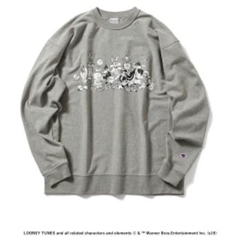 Champion × BEAMS / 別注 LOONEY TUNES プリント ロングスリーブ Tシャツ メンズ Tシャツ OXFORD GREY S