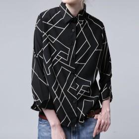 レディース トップス シャツ 長袖 ブラック 幾何学柄シャツ・(50)メール便可