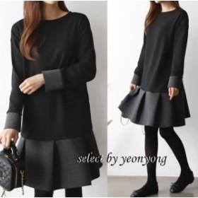 デイリーフリルワンピース カジュアル デート2色 韓国ファッション 韓国ワンピース