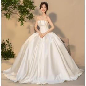ウェディングドレス 超豪華 結婚式 花嫁 新品 ハーフスリーブドレス  白系 ブライダル ロングドレス エレガント ゴージャス WS-352