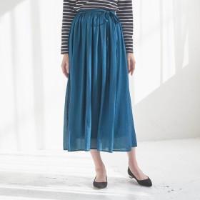 ロングスカート レディース 大きいサイズ 40代 30代 春 スカート マキシ丈 おしゃれ きれいめ エレガント ブルー 4L 5L 6L
