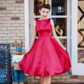 背中見せフレアドレス 2色 ワンピース ドレス ノースリーブ フレアスカート ひざ丈 フェミニン 上品 お出かけ パーティー