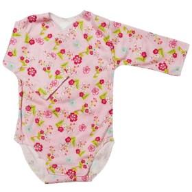 【未熟児】【低出生体重児】【早産児】【NICU】用 ベビー服: 長袖ロンパース ピンクガーデン