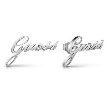 ゲス GUESS NEVER WITHOUT GUESS ITALIC SCRIPT STUDS PIERCE (SILVER) (SILVER) 【