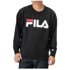 【10%OFF】 マックハウス FILA フィラ 裏毛ビッグロゴプリントトレーナー FH7446 メンズ ブラック M 【MAC HOUSE】 【セール開催中】