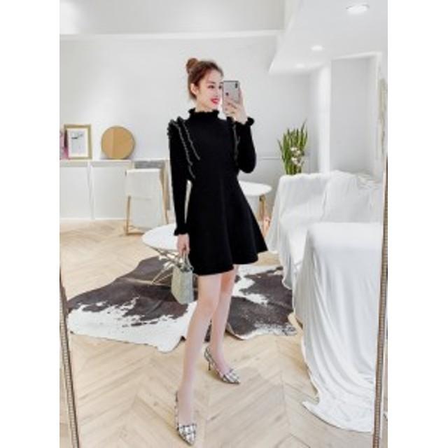 bb80522a1e3c7 ワンピース レトロ スカート ミニ丈 デート フリル ドレス パーティー 二次会 結婚式 お呼ばれ シンプル 黒 上品