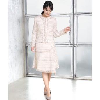 GIRL ガール ノーカラーツイードジャケット&イレヘムスカートのセットアップスーツ
