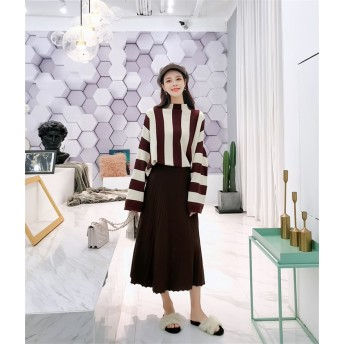 [55555SHOP]【韓国人気商品!!★超目玉★】韓国ファッション CHIC気質 ニット セーター 2点セット
