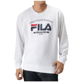 【38%OFF】 マックハウス FILA フィラ 裏毛デザインプリントトレーナー FH7448 メンズ ホワイト M 【MAC HOUSE】 【タイムセール開催中】