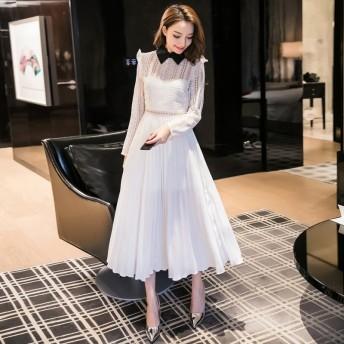 結婚式 ドレス ワンピース パーティー お呼ばれ 二次会 上品で清楚なお嬢様風 純白レースワンピース 韓国 オルチャン 韓国ファッション