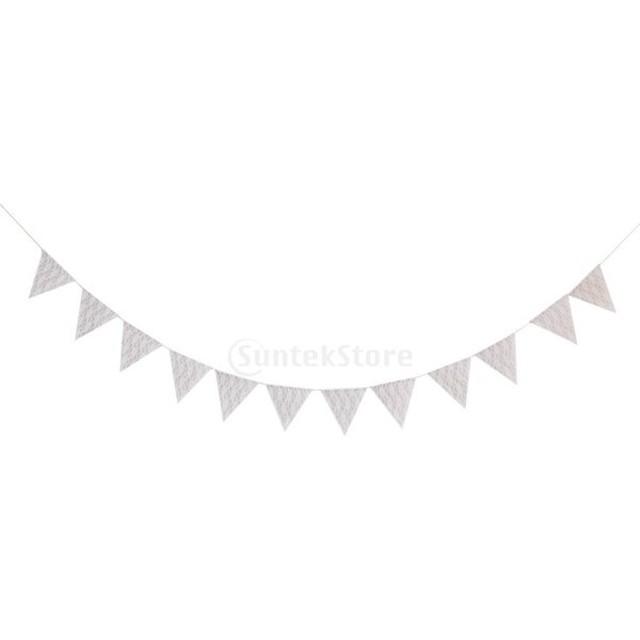 ノーブランド品 ウェディングデコレーション 結婚式装飾 レースと麻布のペナントバナー 飾りバナー フラッグガーランド