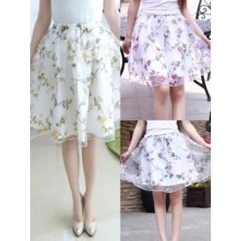 スカート レディース フレアスカート 花柄 ボタニカル ガーリー シースルー 透け感 上品 薔薇 ミニスカート ホワイト