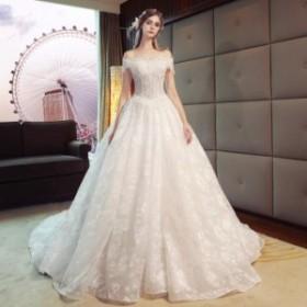 ウェディングドレス 森ガール系 結婚式 花嫁 新品 ハーフスリーブドレス  白系 ブライダル ロングドレス エレガント ゴージャス WS-369