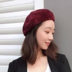 秋冬 ベレー帽 ベロア お出かけスタイル ガーリー 帽子 シンプル ベレット お出かけ 女子会 カラー豊富 オシャレ小物