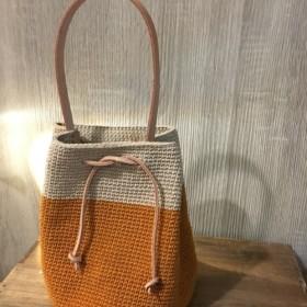 手編みコットンバンドルバッグ(カボチャオレンジ+グレー)
