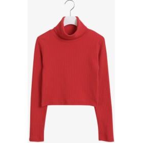 Tシャツ - NOWiSTYLE SONYUNARA(ソニョナラ)クロップドリブT韓国 韓国ファッション ハイネック リブT クロップド丈 ニットソー リブ編みリブニット タートルネック クロップドTシャツ 黒 カットソー