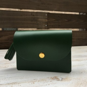 コンパクト財布なのに大容量 アコーデオン 財布 タッセル 牛革 グリーン5