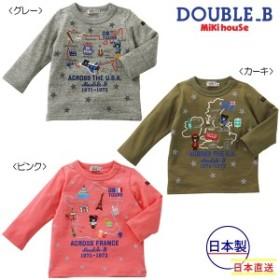 ミキハウス正規販売店/ミキハウス ダブルビー mikihouse USA & FRANCE & UKツアー☆長袖Tシャツ(70cm・80cm・90cm)