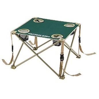 キャプテンスタッグ アウトドアテーブル CS コンパクトテーブル ドリンクホルダー付き 折りたたみ収納可 グリーン