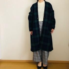 イタリー製ブラックウォッチ変形ロングコート