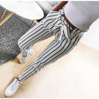 パンツ ロングパンツ テーパードパンツ レディース ボトムス 長ズボン テーパドパンツ 10分丈 縦縞 ボーダー ストライプ ウエスト紐 ウエストベル