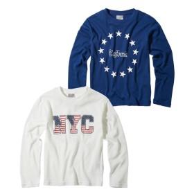 綿混ワッフル素材 プリント長袖Tシャツ2枚組(男の子 子供服。ジュニア服) Tシャツ・カットソー