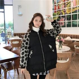 [55555SHOP] 魅惑のヒョウ柄アイテムは今季もマストバイ もこもこカジュアルボアがかわいい リバーシブルボアジャケットモコモコ ジップ パフスリーブ オーバーサイズ ゆったり 韓国