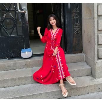 秋冬新作早割特価 買い逃し注意 韓国ファッション CHIC気質 エスニック風 ワンピース 綿とシフォンの大きいサイズのシーサイドホリデービーチスカート ボヘミアンドレス 女性