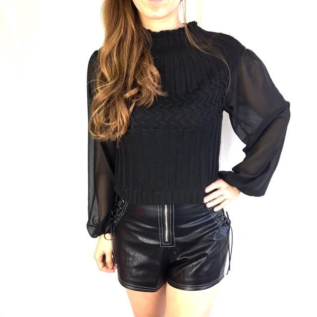 ニット・セーター - STRIP CABARET シフォンパフ袖柄編みニットTOPs【123-6698】