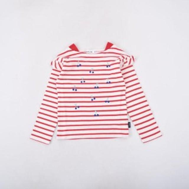 ノイユエームベベ(Noeil aim BeBe)/天竺ボーダーチェリープリントTシャツ