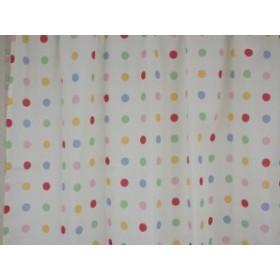 【在庫処分セール】カーテン100×135cm 2枚入 水玉模様ライトイエロー かわいいデザイン