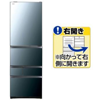東芝【右開き】465L 5ドアノンフロン冷蔵庫VEGETAクリアミラーGRR470GWXK