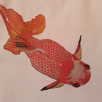 金魚プリントの帆布ぺたんこバッグ(和蘭獅子頭・下向き)