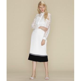 【オンワード】 GRACE CONTINENTAL(グレースコンチネンタル) 配色ニットプリーツスカート ホワイト 36 レディース
