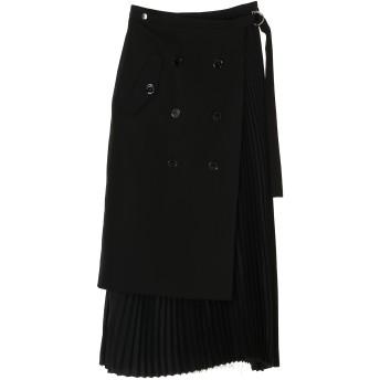 CoSTUME NATIONAL トレンチプリーツスカート ミモレ丈・ひざ下丈スカート,BLACK