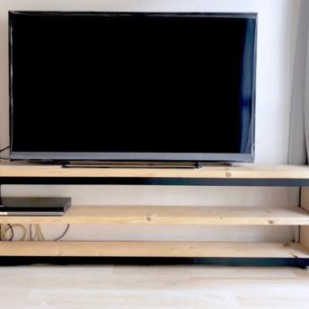 無垢木 アイアンテレビ台 アジャスター付き シェルフ ディスプレイ棚 ラック棚 1枚板仕様