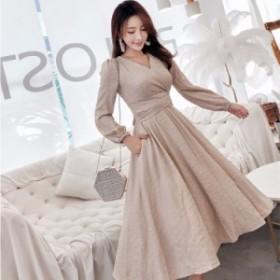 Vネック ロングワンピース マキシワンピース ドレス フォーマルワンピース シャツワンピース カシュクール Aライン 大きいサイズ