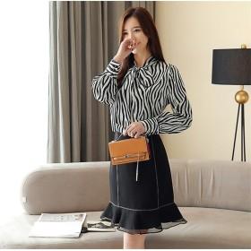 新作追加 高品質で 正規品 韓国ファッション 春 新 ストライプ シフォンシャツ 長袖 シマウマシャツ 女性 スリム シャツ 気質