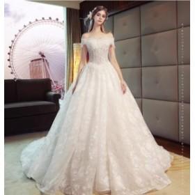 ウェディングドレス 森ガール系 結婚式 花嫁 新品 ハーフスリーブドレス  白系 ブライダル ロングドレス エレガント ゴージャス WS-375