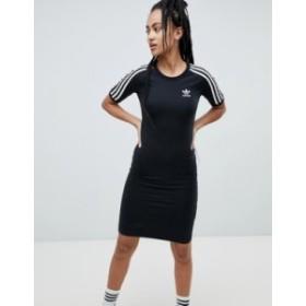 アディダス レディース ワンピース トップス adidas Originals Three Stripe Dress In Black Black