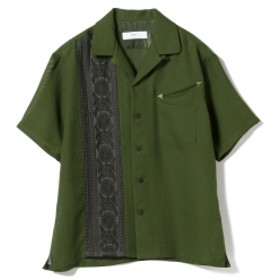 TOGA VIRILIS / 刺繍テープ オープンカラーシャツ メンズ カジュアルシャツ GREEN 46/M
