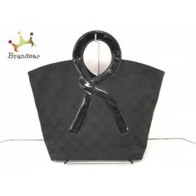 ロベルタ ディ カメリーノ トートバッグ 黒 ナイロンジャガード×エナメル(レザー)   スペシャル特価 20190501